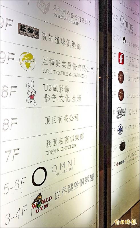麗園名商俱樂部酒店位台北市東區於統領大樓七樓。(記者朱沛雄攝)
