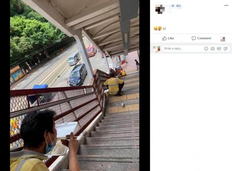 針對香港政府實施「禁堂食令」,「香港建築地盤職工總會」今在臉書發起「一人一相」活動,號召工地從業者們拍照分享中午的用餐情況,向香港政府表達不滿。(圖擷取自Facebook)