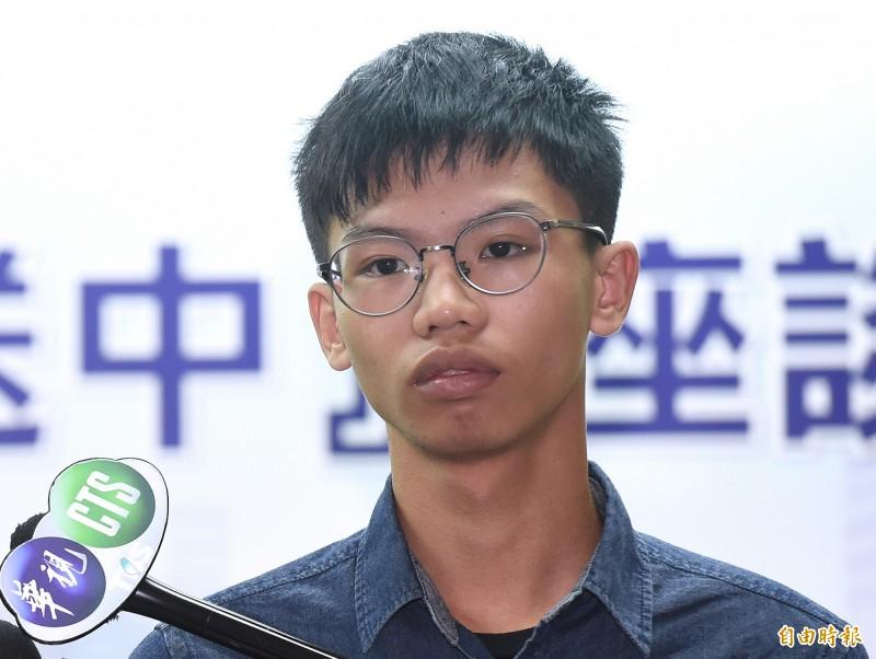 香港學生組織「學生動源」前召集人鍾翰林去年曾來台訪問。(資料照)