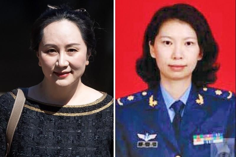 共軍背景的中國女學者唐娟(右)23日在美國被捕迄今,從官方到媒體一片噤聲,與高調力挺華為財務長孟晚舟(左)形成強烈對比。(左彭博,右美聯社,本報合成)