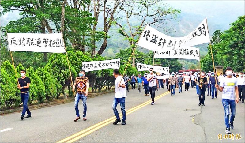 曾文、南化聯通管工程,遭地方反對、抗議。(記者萬于甄攝)
