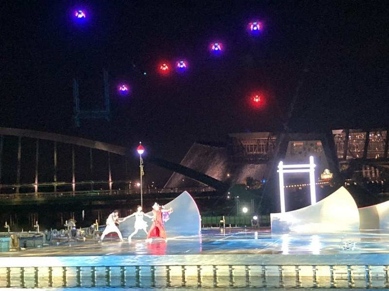 無人機結合特技及現代舞彩排搶先看。(故宮南院提供)