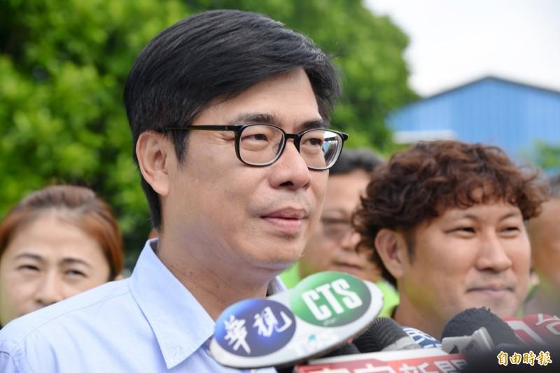 陳其邁對李眉蓁遭留言恐嚇一事,表達希望選舉能和平理性。(記者許麗娟攝)