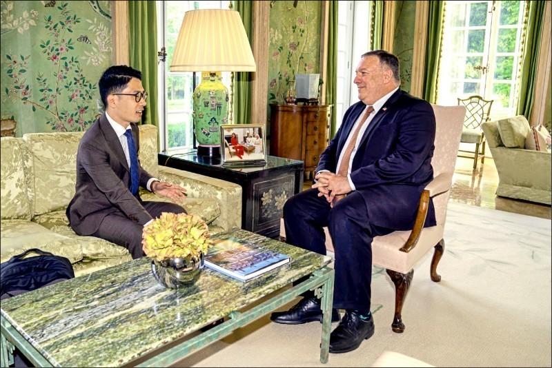 羅冠聰不久前會見美國國務卿龐皮歐,今被港府依香港國安法發出通緝令。(圖取自羅冠聰臉書)