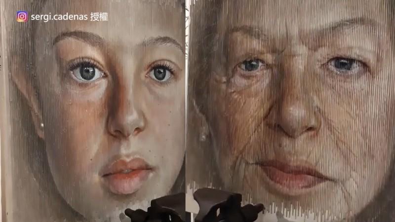 畫作從左看是少女,右看變老婦人。(Instagram sergi.cadenas 授權)