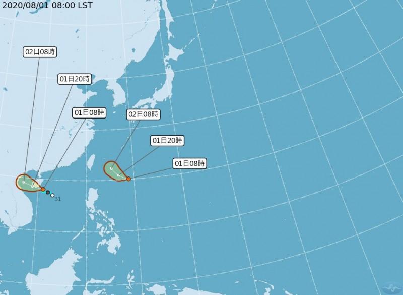 繼昨日中央氣象局發布南海有一熱帶性低氣壓後,今日氣象局再表示,菲律賓東方海面形成一個熱帶性低氣壓,有發展成颱風的趨勢。(氣象局提供)