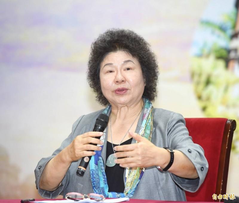 今天上任的監察院長、國家人權委員會主委陳菊在記者會表示,「我有一定年歲,這是我最後工作,當然是我最後公職。」(記者方賓照攝)