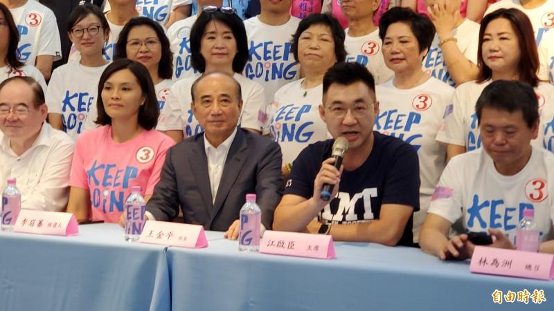 國民黨主席江啟臣為李眉蓁表現打幾分?他說 ,8月15日交由市民打分數。(記者陳文嬋攝)