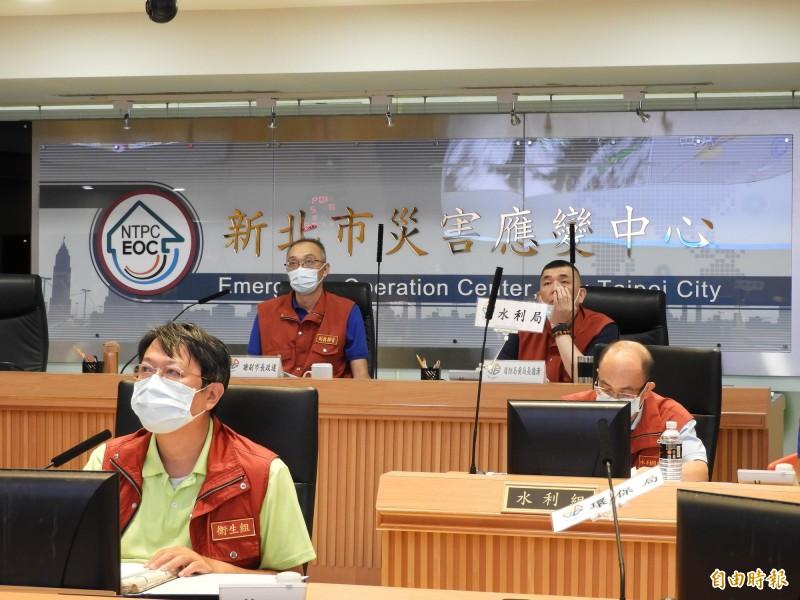 中央氣象局今天凌晨5點30分發布哈格比颱風北部海上颱風警報,新北市災害應變中心立即成立二級開設。(記者賴筱桐攝)