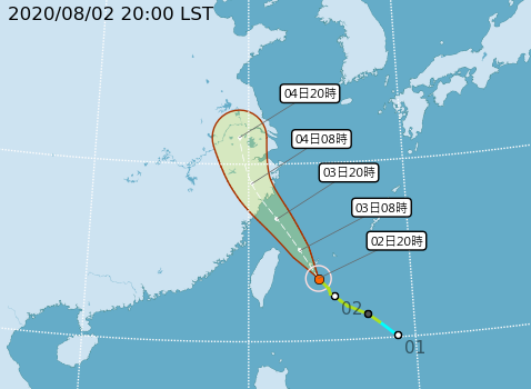輕度颱風哈格比預估將掠過台灣、直撲中國長江下游。(圖取自中央氣象局)