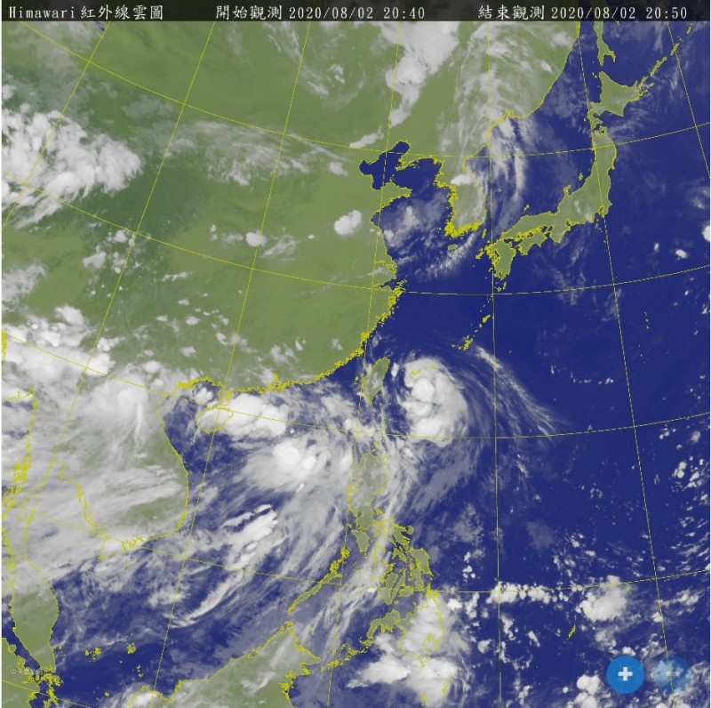明日受到哈格比颱風外圍環流影響,全台需留意局部陣雨雷雨。(圖取自中央氣象局)