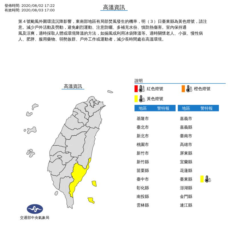 受到第4號颱風外圍環流沉降影響,東南部地區有局部焚風發生的機率,明(3)日台東縣為黃色燈號,提醒民眾多加注意。(圖擷取自中央氣象局)