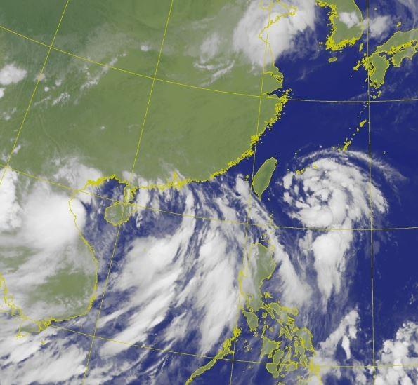 中國面臨雙颱前後接連來襲。(圖擷取自中央氣象局)
