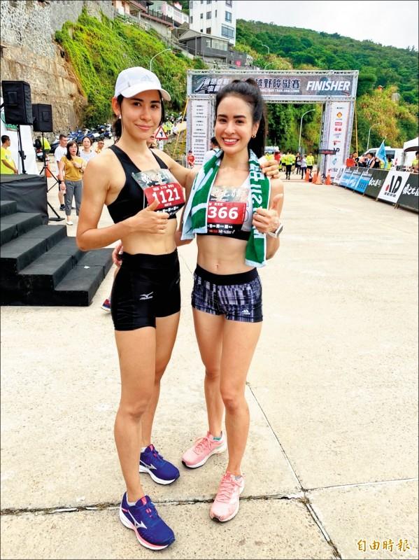 連江縣「東引軍事越野障礙賽」16公里菁英競賽組昨天登場,擁有法、日血統的雷理莎(左)再度一馬當先,蟬聯女子組冠軍。(記者俞肇福攝)