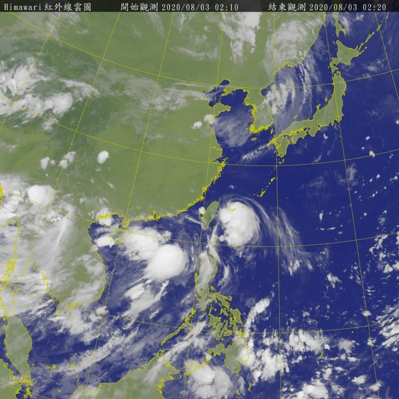 8冃3日凌晨2點10分觀測的衛星雲圖。(擷自氣象局網站)