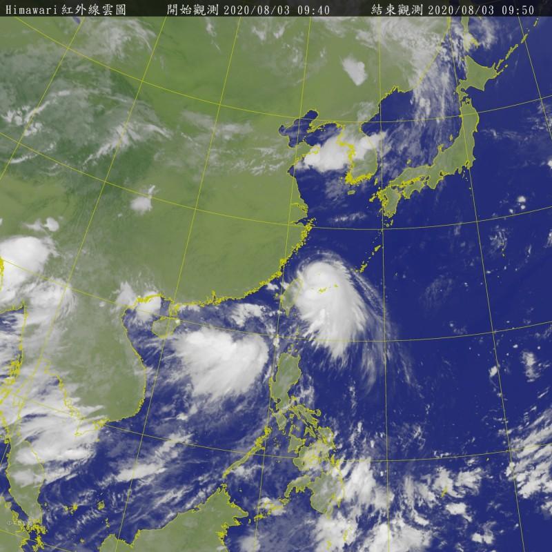 中國氣象單位預測哈格比颱風將在今夜至明日凌晨登陸浙江。(圖擷取自中央氣象局)