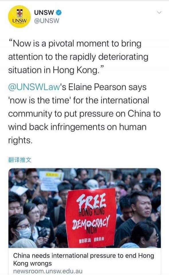 新南威爾斯大學上月31日在推特上分享一篇文章,內容呼籲關注香港人權議題,但隨後該篇貼文卻疑似因中國學生施壓而刪文,澳媒批評校方此舉是在向中國學生低頭。(圖擷自推特)