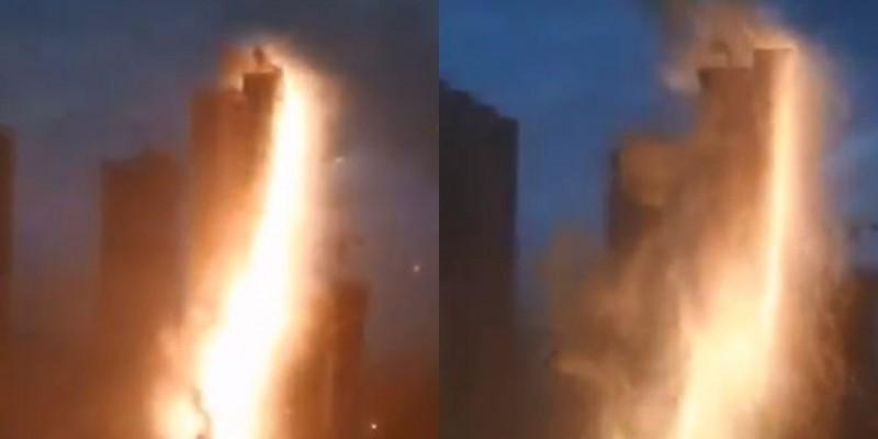 中國瀋陽1棟社區大樓被閃電擊中,當局稱無人傷亡。(圖取自央視微博)
