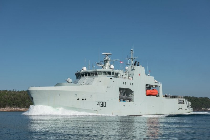 加拿大皇家海軍近期已收到首艘哈利.迪沃夫級(Harry DeWolf)北極海面巡邏艦,圖為哈利.迪沃夫北極海面巡邏艦。(擷取自加拿大國防部)