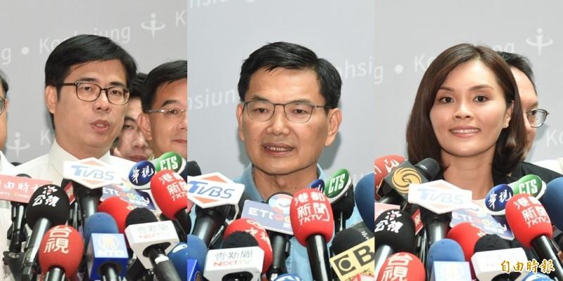 媒體踢爆,高雄市長補選地下賭盤已喊出陳其邁(左)讓李眉蓁(右)45萬票,中為吳益政。(資料照,本報合成)