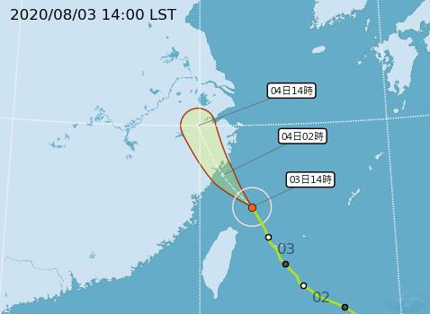 哈格比颱風進逼中國,當地官方已將警報升級。圖為中央氣象局發布的颱風路徑。(圖取自中央氣象局)