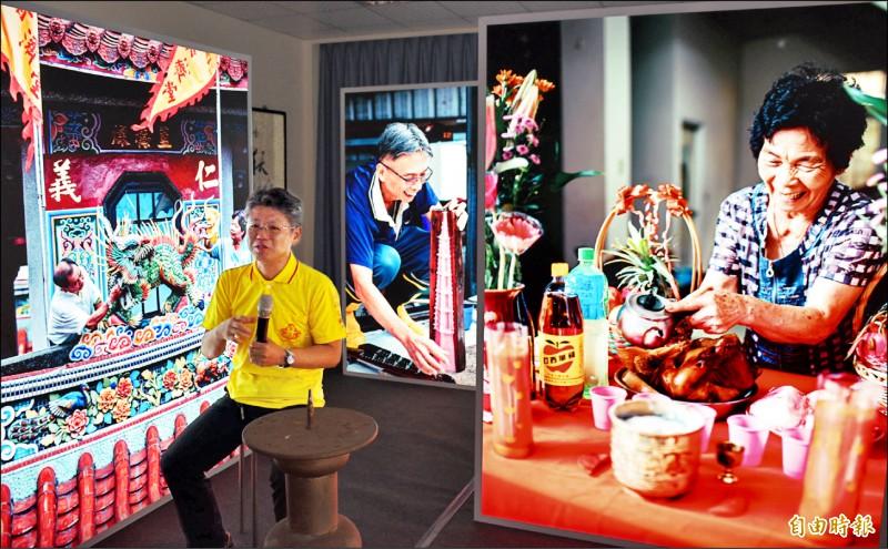 「遶境事務所」特展,以燈箱呈現準備遶境事務的各個角色人物故事。(記者李容萍攝)