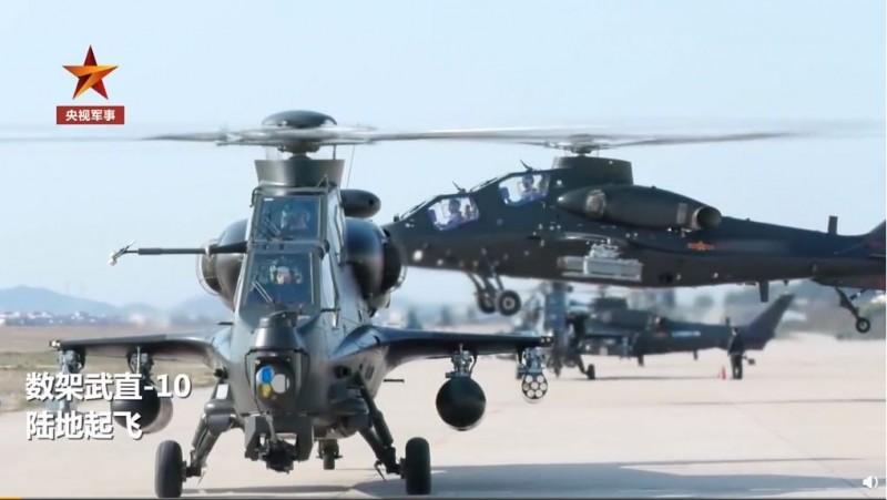中國解放軍近日進行跨軍種訓練,宣稱完成武直-10直升機艦上起降訓練,圖為武直-10直升機。(擷取自「央視軍事」微博)