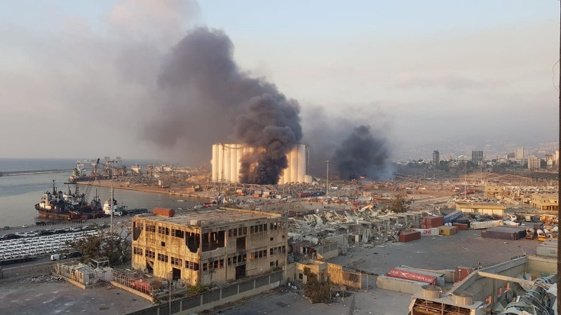 黎巴嫩首都貝魯特港口地區4日發生大爆炸。(歐新社)