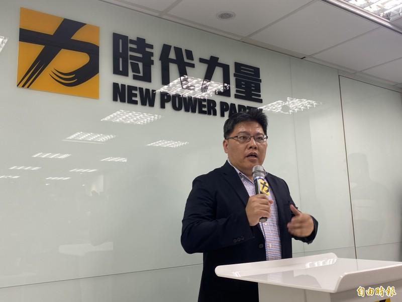 時代力量代理黨主席邱顯智說明徐永明涉賄案的最新處置進度。(記者吳書緯攝)