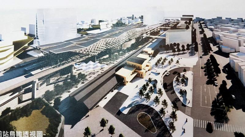 新嘉義車站前站透視圖。(記者林宜樟翻攝)
