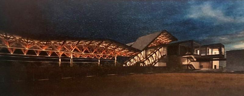 北回歸線車站夜景示意圖。(記者林宜樟翻攝)