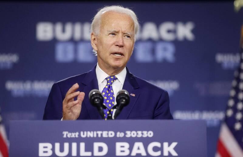 美國民主黨候選人拜登(Joe Biden)宣布將在11月選舉日前投入2.8億美元(約新台幣82億元)於電視廣告和社群媒體廣告。(路透)