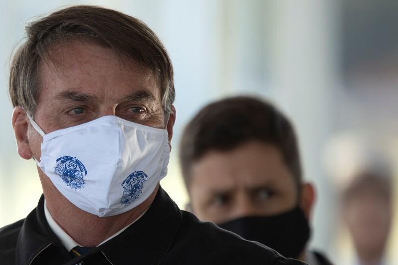 巴西總統府也淪為疫區,迄今至少178名員工染疫。圖為巴西總統波索納洛(Jair Bolsonaro)。