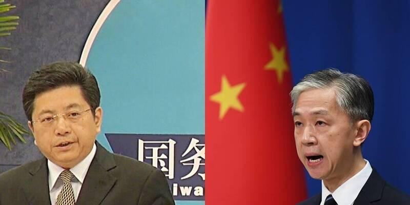 馬曉光(左)稱民進黨不可能得逞,汪文斌(右)稱中方以對美提出嚴正交涉。(左圖中央社,右圖法新社)