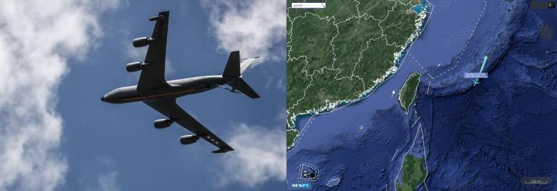 美軍KC-135空中加油機5日現身台灣東方外海。(左圖法新社,右圖取自SCS Probing Initiative)