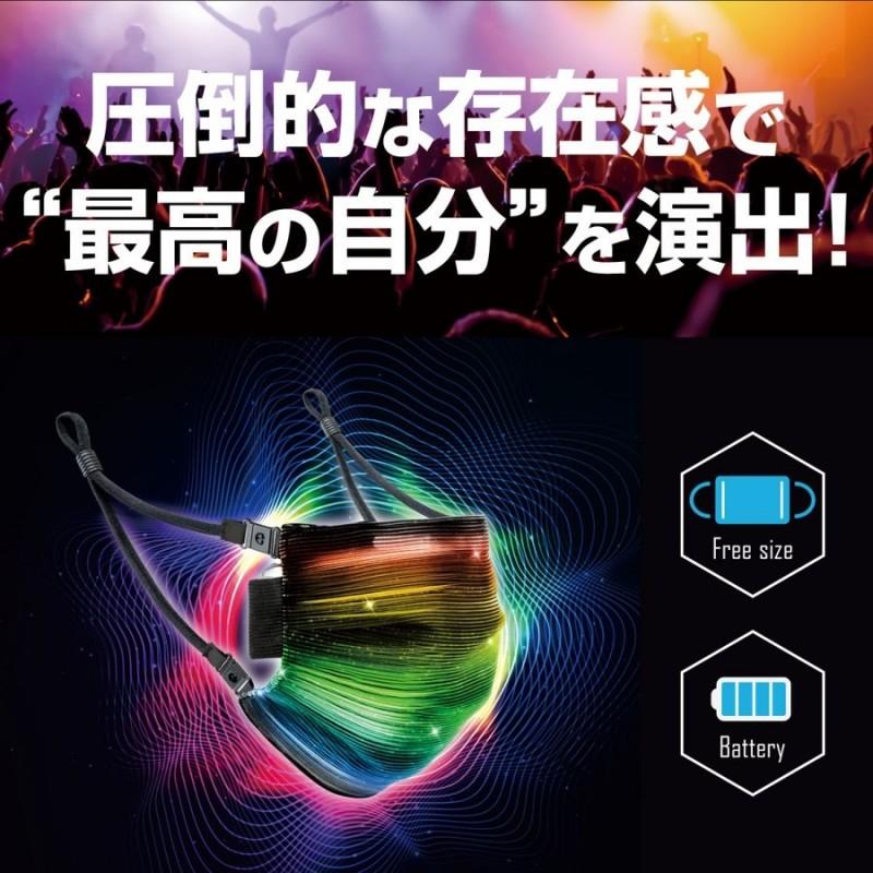 日本公司「スペックダイレクト」推出可充電式的「七彩LED口罩」。(圖翻攝自Twitter)