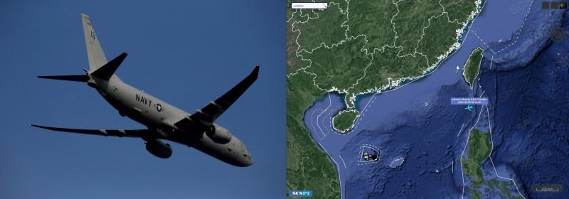 南海5日出現1架美軍P-8海神式海上巡邏機。(左圖路透,右圖取自SCS Probing Initiative)