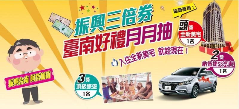 台南配合振興3倍券推出月月抽好禮活動,送房子、車子等大獎,民眾參加活動登錄金額已突破5億元。(記者洪瑞琴翻攝)