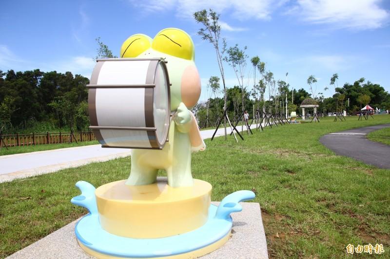 嘉義市綠映水漾公園啟用。(記者林宜樟攝)