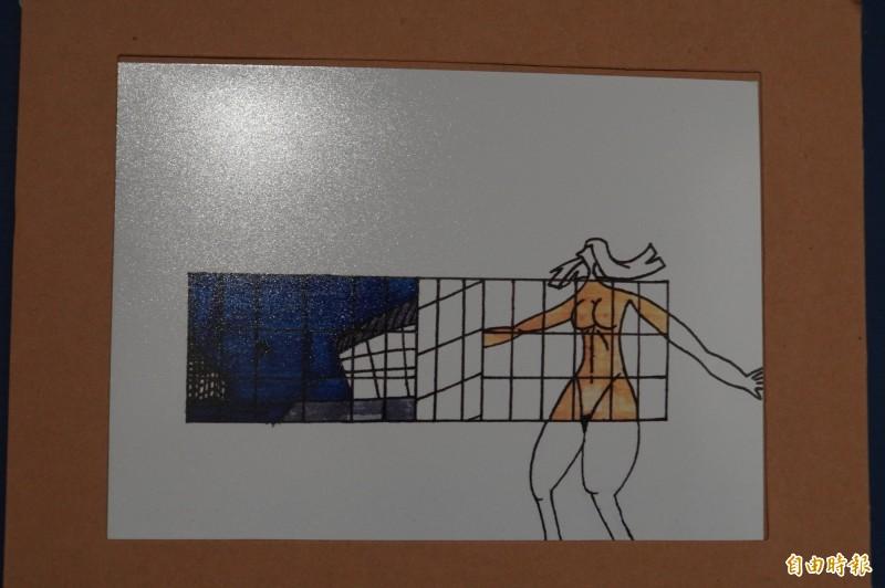 陳冠廷整天不停畫畫,作品呈現個人風格。(記者顏宏駿攝)
