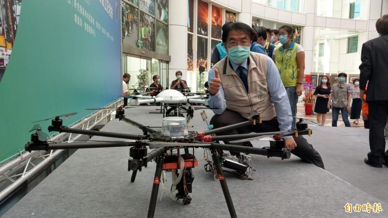 台南市長黃偉哲表示,台南市是第1個成立市府級無人機隊的地方政府。(記者劉婉君攝)