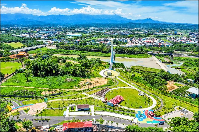 嘉義市綠映水漾公園昨天啟用。(嘉義市政府提供)