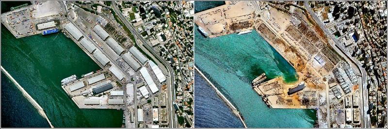 比對6月9日與8月5日的衛星照片,可以看出貝魯特港在爆炸後幾乎被夷為平地。(路透)