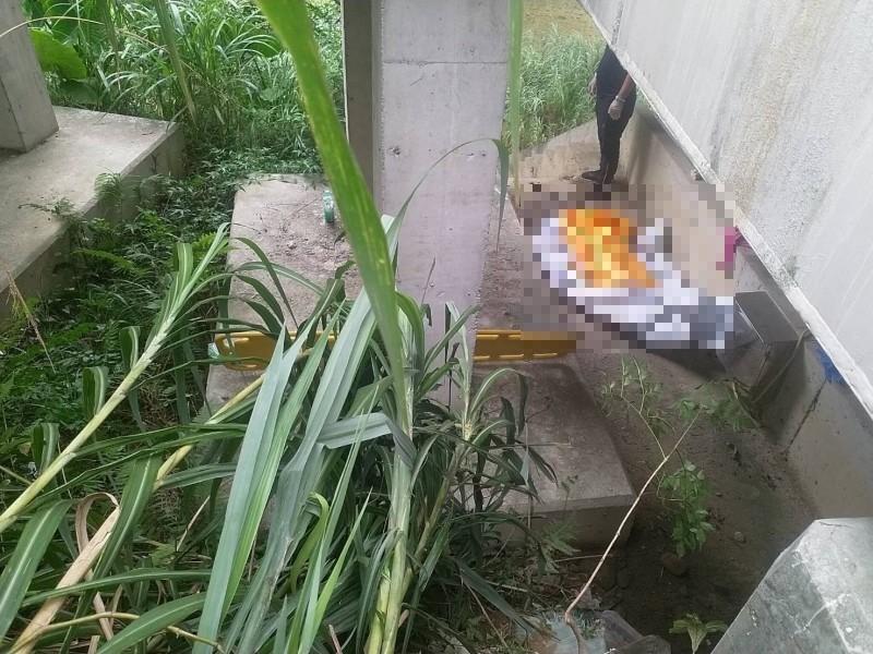 民眾今日上午5時左右在平埔橋下發現全裸女屍。(記者陳薏云翻攝)