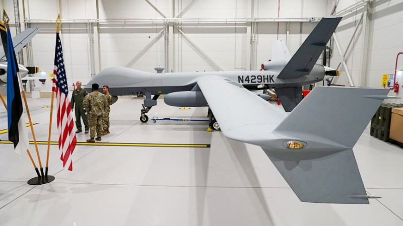 A US Air Force MQ-9 Reaper drone sits in a hanger at the Amari Air Base in Estonia on July 1. SeaGuardian drones, which are also manufactured by General Atomics Aeronautical Systems, are similar to Reaper drones. Photo: Reuters