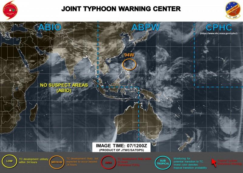 美軍認為,該低壓系統有機率24小時後發展成熱帶氣旋。(圖取自JTWC)