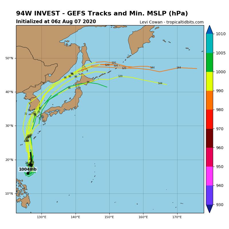 美國集系模式路徑圖顯示,該低壓系統往南韓、日本前進。(圖取自Tropicaltidbits)
