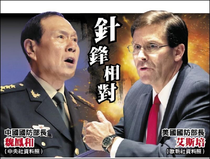 美國國防部長艾斯培與中國國務委員兼國防部長魏鳳和於本月6日通話,戰略學者翁明賢認為,美中兩國各自打「中國牌」與「美國牌」,因應內部緊張情勢,卻又不想牌局超越可控範圍,所以一面玩牌、一面溝通來相互對話瞭解。(本報合成)