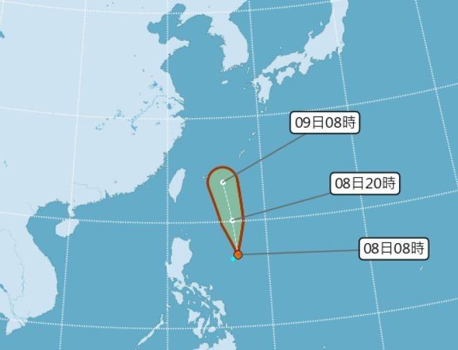 賈新興認為,熱帶性低氣壓TD06最快今晚增強成颱。(擷取自中央氣象局)
