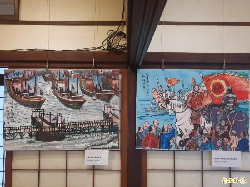 陳秉鏄漫畫作品,呈現出清朝與明鄭海戰狀況。(記者劉禹慶攝)